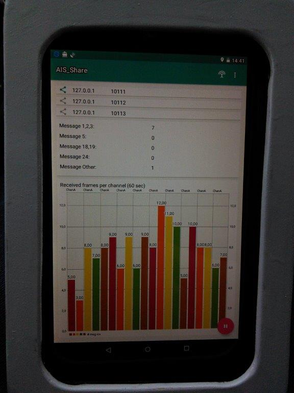 AIS Share  Android app on sail boat